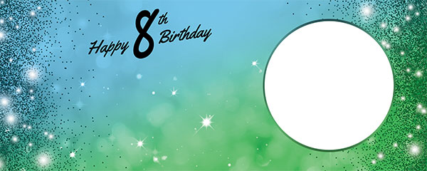 Happy 8th Birthday Sparkles Blue Green Design Medium Personalised Banner – 6ft x 2.25ft