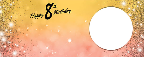 Happy 8th Birthday Sparkles Gold Pink Design Medium Personalised Banner – 6ft x 2.25ft