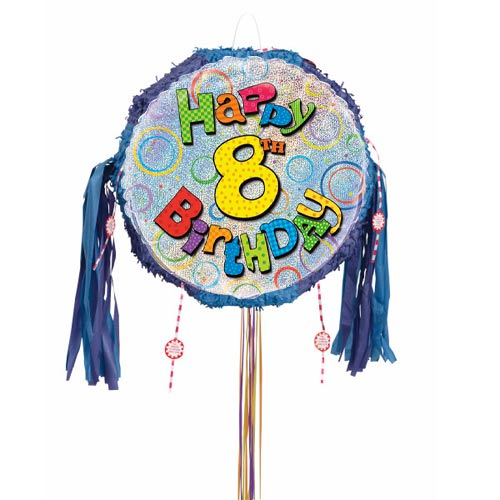 Happy 8th Birthday Holographic Pull String Pinata Product Image