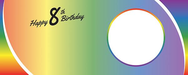 Happy 8th Birthday Rainbow Ombre Design Medium Personalised Banner – 6ft x 2.25ft