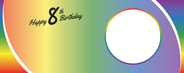 Happy 8th Birthday Rainbow Ombre Design Small Personalised Banner – 4ft x 2ft