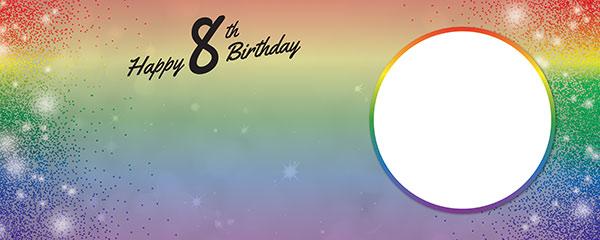 Happy 8th Birthday Rainbow Sparkles Design Medium Personalised Banner – 6ft x 2.25ft