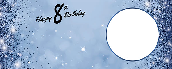 Happy 8th Birthday Sparkles Royal Blue Design Medium Personalised Banner – 6ft x 2.25ft