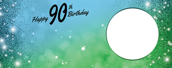 Happy 90th Birthday Sparkles Blue Green Design Medium Personalised Banner – 6ft x 2.25ft