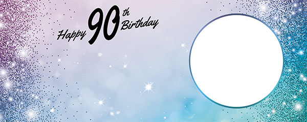 Happy 90th Birthday Sparkles Blue Pink Design Small Personalised Banner – 4ft x 2ft