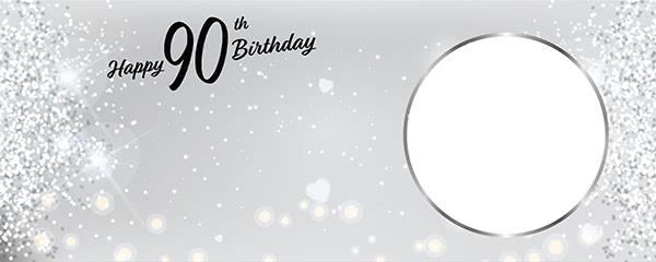 Happy 90th Birthday Milestone Light Design Small Personalised Banner - 4ft x 2ft
