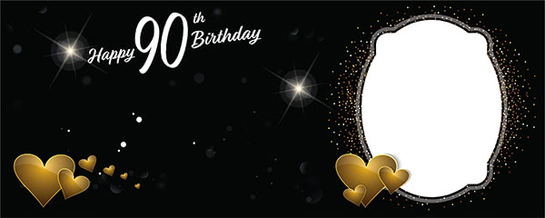 Happy 90th Birthday Milestone Dark Design Small Personalised Banner - 4ft x 2ft