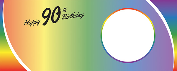 Happy 90th Birthday Rainbow Ombre Design Large Personalised Banner – 10ft x 4ft