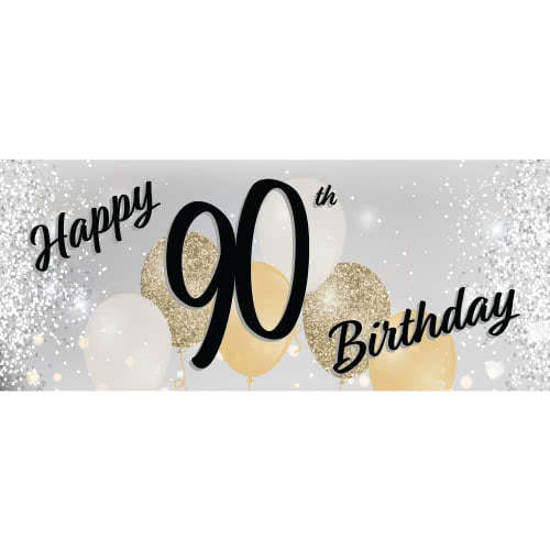 Happy 90th Birthday Silver PVC Party Sign Decoration 60cm x 25cm Product Image