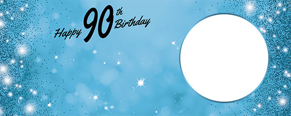 Happy 90th Birthday Sparkles Baby Blue Design Small Personalised Banner – 4ft x 2ft