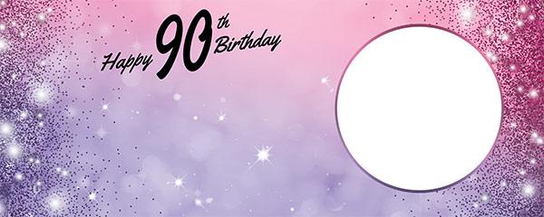 Happy 90th Birthday Sparkles Pink Purple Design Medium Personalised Banner – 6ft x 2.25ft