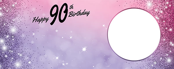 Happy 90th Birthday Sparkles Pink Purple Design Small Personalised Banner – 4ft x 2ft