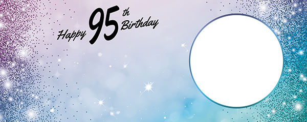 Happy 95th Birthday Sparkles Blue Pink Design Medium Personalised Banner – 6ft x 2.25ft