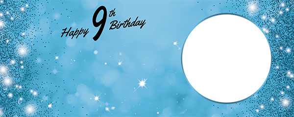 Happy 9th Birthday Sparkles Baby Blue Design Medium Personalised Banner – 6ft x 2.25ft