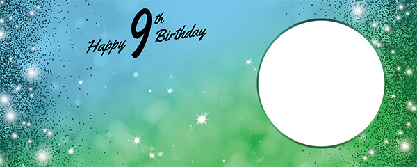 Happy 9th Birthday Sparkles Blue Green Design Small Personalised Banner – 4ft x 2ft