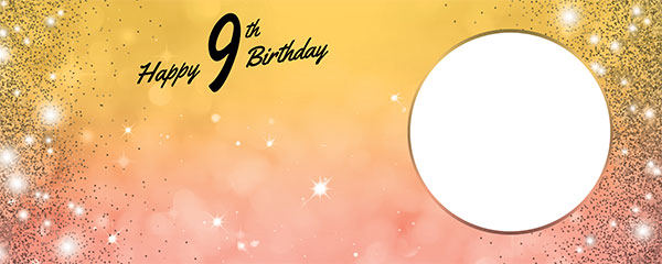 Happy 9th Birthday Sparkles Gold Pink Design Small Personalised Banner – 4ft x 2ft