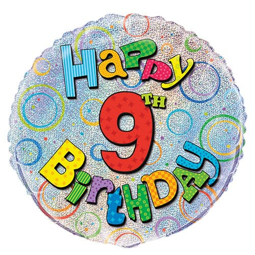 Happy 9th Birthday Holographic Round Foil Helium Balloon 46cm / 18Inch