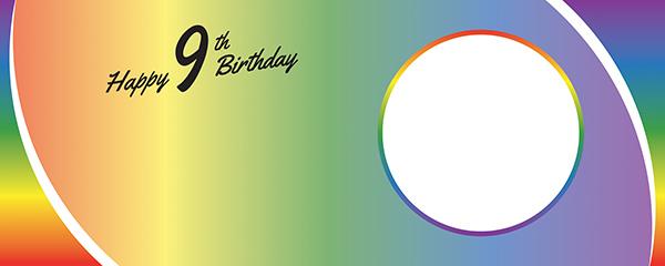Happy 9th Birthday Rainbow Ombre Design Medium Personalised Banner – 6ft x 2.25ft