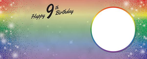 Happy 9th Birthday Rainbow Sparkles Design Medium Personalised Banner – 6ft x 2.25ft
