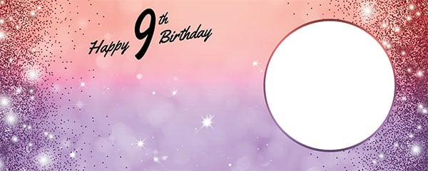 Happy 9th Birthday Sparkles Red Purple Design Large Personalised Banner – 10ft x 4ft