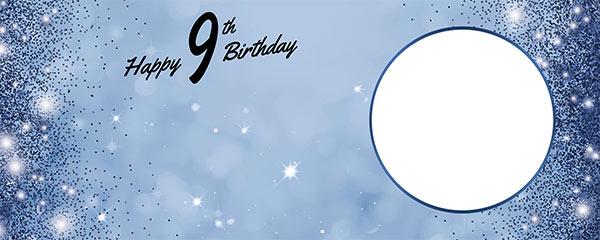 Happy 9th Birthday Sparkles Royal Blue Design Medium Personalised Banner – 6ft x 2.25ft