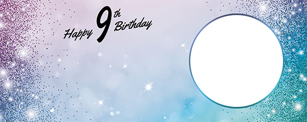Happy 9th Birthday Sparkles Blue Pink Design Medium Personalised Banner – 6ft x 2.25ft
