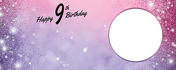 Happy 9th Birthday Sparkles Pink Purple Design Small Personalised Banner – 4ft x 2ft
