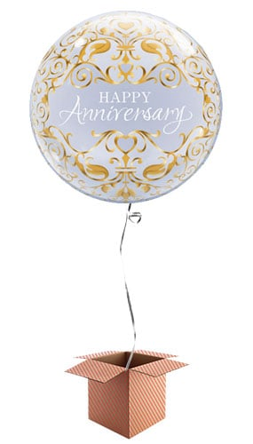 Happy Anniversary Bubble Helium Qualatex Balloon - Inflated Balloon in a Box Product Image