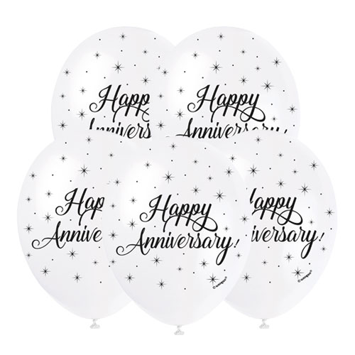 Happy Anniversary Biodegradable Latex Balloons 30cm / 12 in - Pack of 5 Product Image