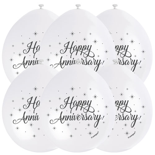 Happy Anniversary Air Fill Biodegradable Latex Balloons 23cm / 9 in - Pack of 10 Product Image