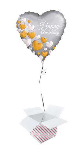 Happy Anniversary Satin Luxe Heart Foil Helium Balloon - Inflated Balloon in a Box Product Image