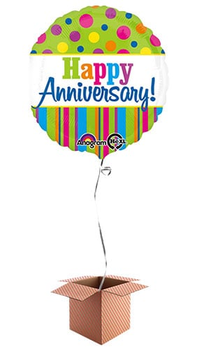 Happy Anniversary Stripes And Dots Round Foil Balloon - Inflated Balloon in a Box Product Image