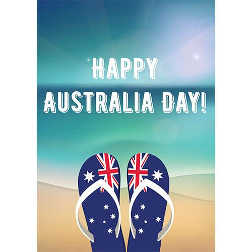 Happy Australia Day Flip Flops A2 Poster PVC Party Sign Decoration 59cm x 42cm Product Gallery Image