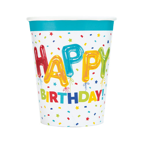 Happy Balloon Birthday Paper Cups 270ml - Pack of 8
