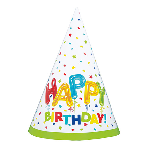 Happy Balloon Birthday Party Cone Hats - Pack of 8