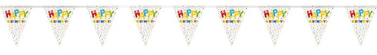 Happy Balloon Birthday Plastic Flag Bunting 365cm