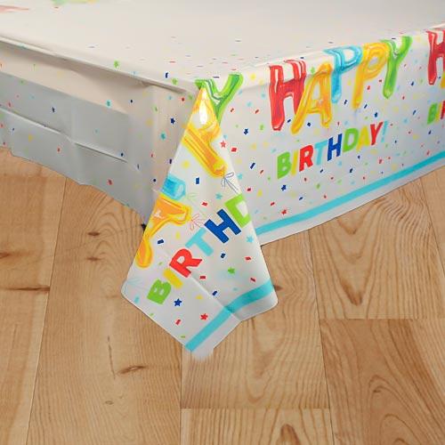 Happy Balloon Birthday Plastic Tablecover 213cm x 137cm Product Image