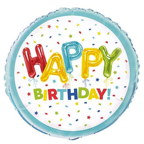 Happy Balloon Birthday Round Foil Helium Balloon 46cm / 18 in Product Image