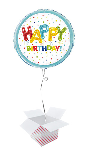 Happy Balloon Birthday Round Foil Helium Balloon - Inflated Balloon in a Box Product Image