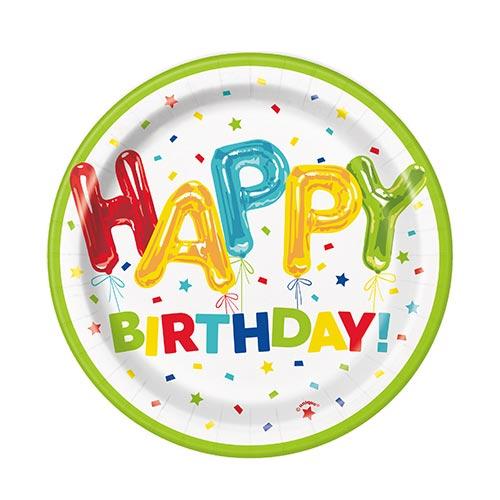 Happy Balloon Birthday Round Paper Plates 17cm - Pack of 8