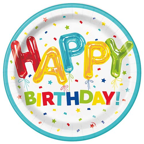 Happy Balloon Birthday Round Paper Plates 22cm - Pack of 8 Product Image