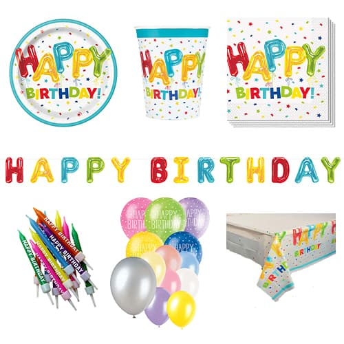 Happy Balloon Birthday 16 Person Deluxe Party Pack Product Image
