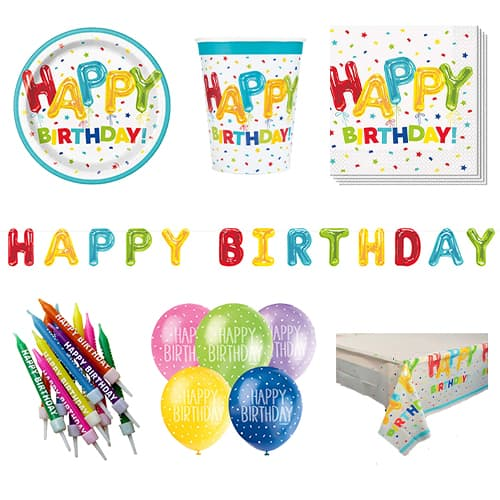 Happy Balloon Birthday 8 Person Deluxe Party Pack Product Image