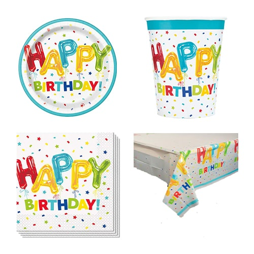 Happy Balloon Birthday 8 Person Value Party Pack Product Image