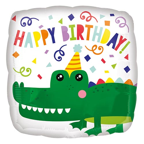 Happy Birthday Alligator Square Shape Foil Helium Balloon 43cm / 17 in Product Image