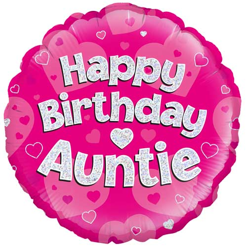 Happy Birthday Auntie Holographic Round Foil Helium Balloon 46cm / 18 in Product Image