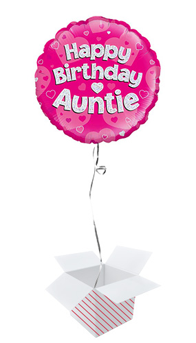 Happy Birthday Auntie Holographic Round Foil Helium Balloon - Inflated Balloon in a Box Product Image