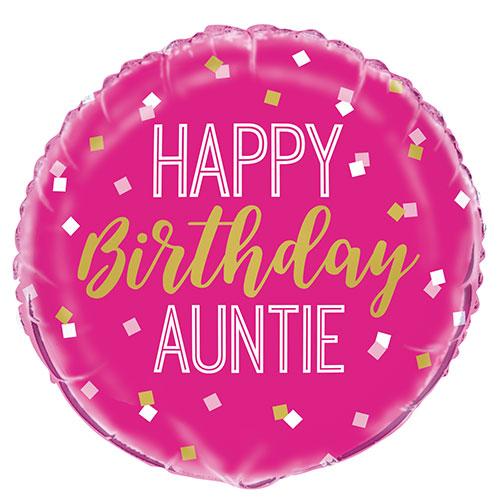 Happy Birthday Auntie Round Foil Helium Balloon 46cm / 18 in Product Image