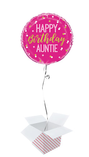 Happy Birthday Auntie Round Foil Helium Balloon - Inflated Balloon in a Box Product Image