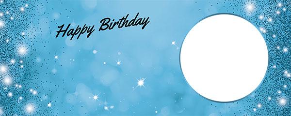 Happy Birthday Sparkles Baby Blue Design Medium Personalised Banner – 6ft x 2.25ft